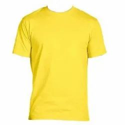 Yellow Micro Polyester Round Neck T Shirt