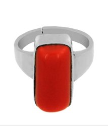 Red Coral Astrological Stone Ring Silver Gemstone
