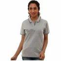 Ladies Grey Cotton T Shirt, Size: S, M & L