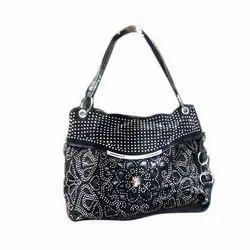 Party Wear Black Ladies Embroidered Handbag
