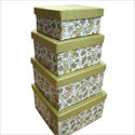 Handmade Paper Square Shape Nested Boxes