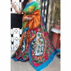 Party Wear Ladies Cotton Saree, 5.5 m (separate blouse piece), With blouse piece