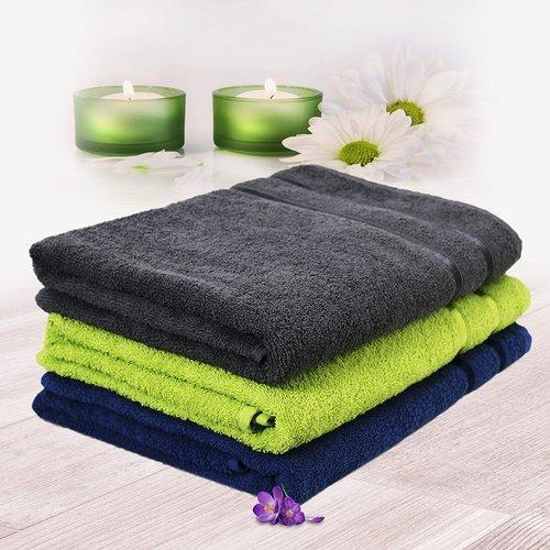 b8d6790ab7f Multicolor 3 Piece 450 GSM Cotton Men Bath Towel Set