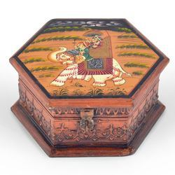 Octagonal Wooden Art Jewelry Box 261
