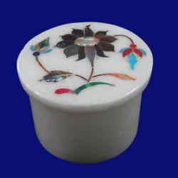 White Makrana Indian Marble Jewelry Box