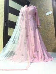 Hand Zardogi Work Engagement Wear Girls Gown