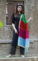 Rayon Fabric Suit With Net Dupatta Hand Block Gold Print