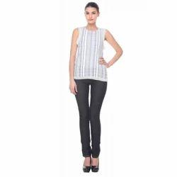 Cotton Round Neck Stripe Print Long Top