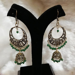 Oxidized German Silver Jhumka with Green Beads