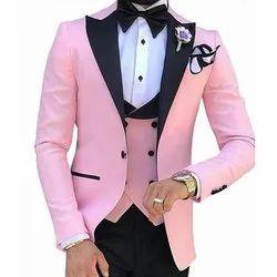 Party Plain Mens Pink And Black Designer Suit, Size: 40,42
