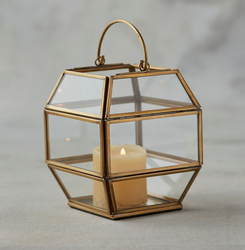 Metal And Glass Avon Geometric Brass Mini Lantern