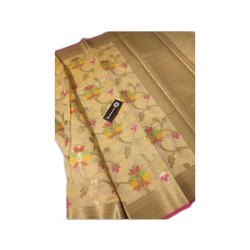 Brocade Woven Assorted Ladies Tussar Cotton Art Silk Saree, 6.5 m, Machine Made