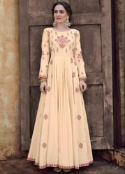 Cream Embroidered Rayon Gown