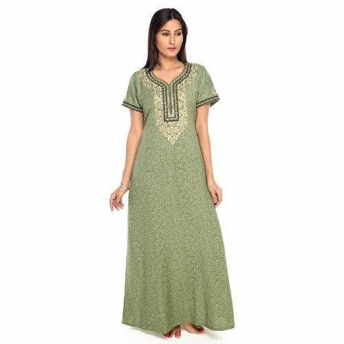 56cf3b45e0 XS To 5XL Ladies Cotton-Spun Embroidery Nightwear