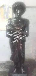 Black Stone Birsa Munda Statue