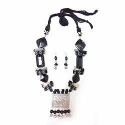 Black Tribal German Silver Necklace Sets