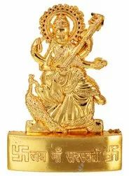 Golden Plated Goddess Saraswati Idol Statue - Showpiece and Lord of Wealth for Temple and Home Decor
