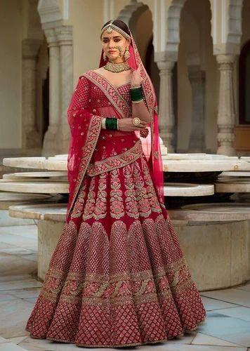 e8c4530fc4 40&42 Designer Rose Pink Bridal Lehenga, Bridal Net, Rs 11500 /piece ...