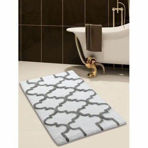 Printed Rectangular Bathroom Cotton Rugs