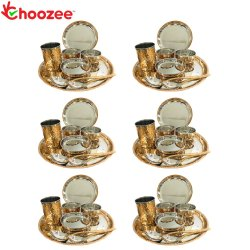 Choozee - Copper Thali Set of 6 (48 Pcs) Plate, Bowl, Spoon & Glass