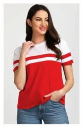 Cotton Half Sleeve White And Red Girls T Shirt