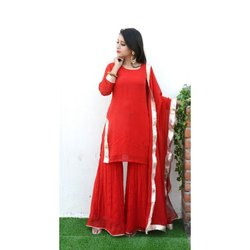 Ladies Red Chiffon Suit