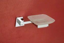 Chrome Acetap Single Soap Dish, Material Grade: Brass & Glass, Shape: Round