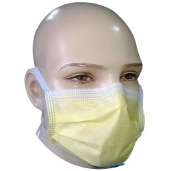 Non Woven Disposable 3 Ply Tie On Yellow Surgical Mask