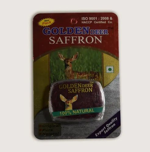 Golden Deer Saffron 5gram Pack, Packaging Type: Blister Pack