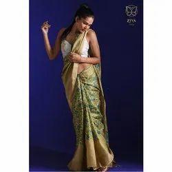 Zari Border Pure Handwoven Tussar Silk Saree