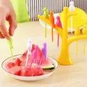 Bird Plastic Fruit Fork Pack with Stand, 6-Pieces