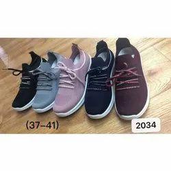 Canvas Casual Wear Ladies Fancy Mesh Shoes, Size: 3741