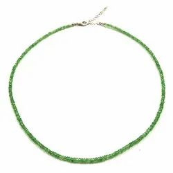 Natural Green Garnet Stone Beads Silver Hook Necklaces Online