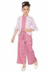 Casual Wear Pink Kids Jumpsuits