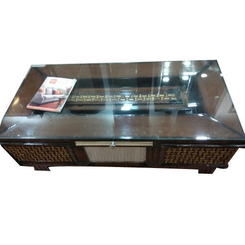 Glass Top Rectangular Wooden Center Table, Size: 3 x 5 ...