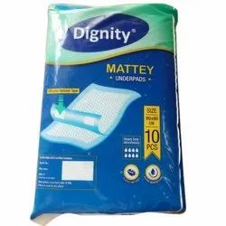 Rectangular White Dignity Mattey Underpad For Clinic, Size: Medium