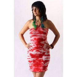 Party Wear Printed Cotton Tie and Dye Short Dress
