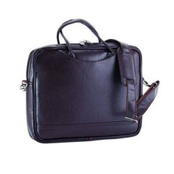 Brown Plain Leather Briefcase Bag