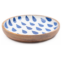 Leaf Printed Wooden Enamel Serving Bowl