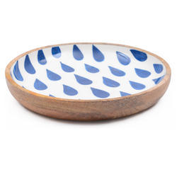 Leaf Printed Wooden Round Enamel Serving Bowl