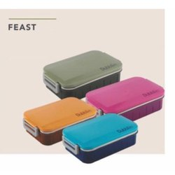 Plastic and Stainless Steel Dubblin Feast Lunch Box, Capacity: 850ml