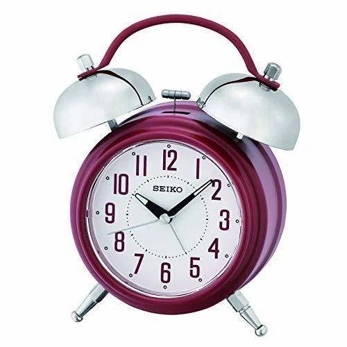 Metal Analog Qhk051r Seiko Alarm Clock Shape Round