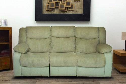 Metro 3 Seater Green Fabric Recliner Sofa