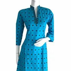 Blue  Polka Dot Cotton Kurti