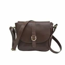 Women Dark Brown Leather Sling Bag, Size: 10x3x8.5 Inches