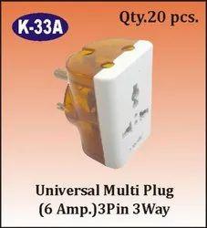 K-33A 3 Pin 3 Way Universal Multi Plug