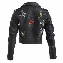 Women Black Embroidery Leather Jacket