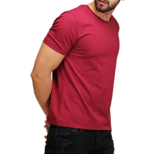 ab6757672 Half Sleeve Plain Maroon Mens Cotton Round Neck T Shirt, Size: M, Rs ...