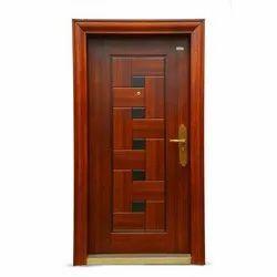 Standard Brown Bathroom Steel Safety Door, Single