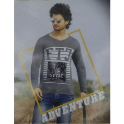 Grey Cotton Mens Round Neck Printed T-Shirt
